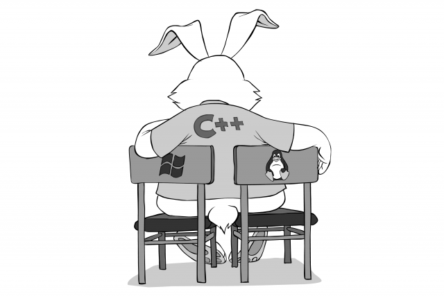 C++ sitting on two chairs