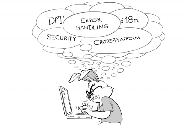 i18n, error handling, DfT, security, cross-platform while coding