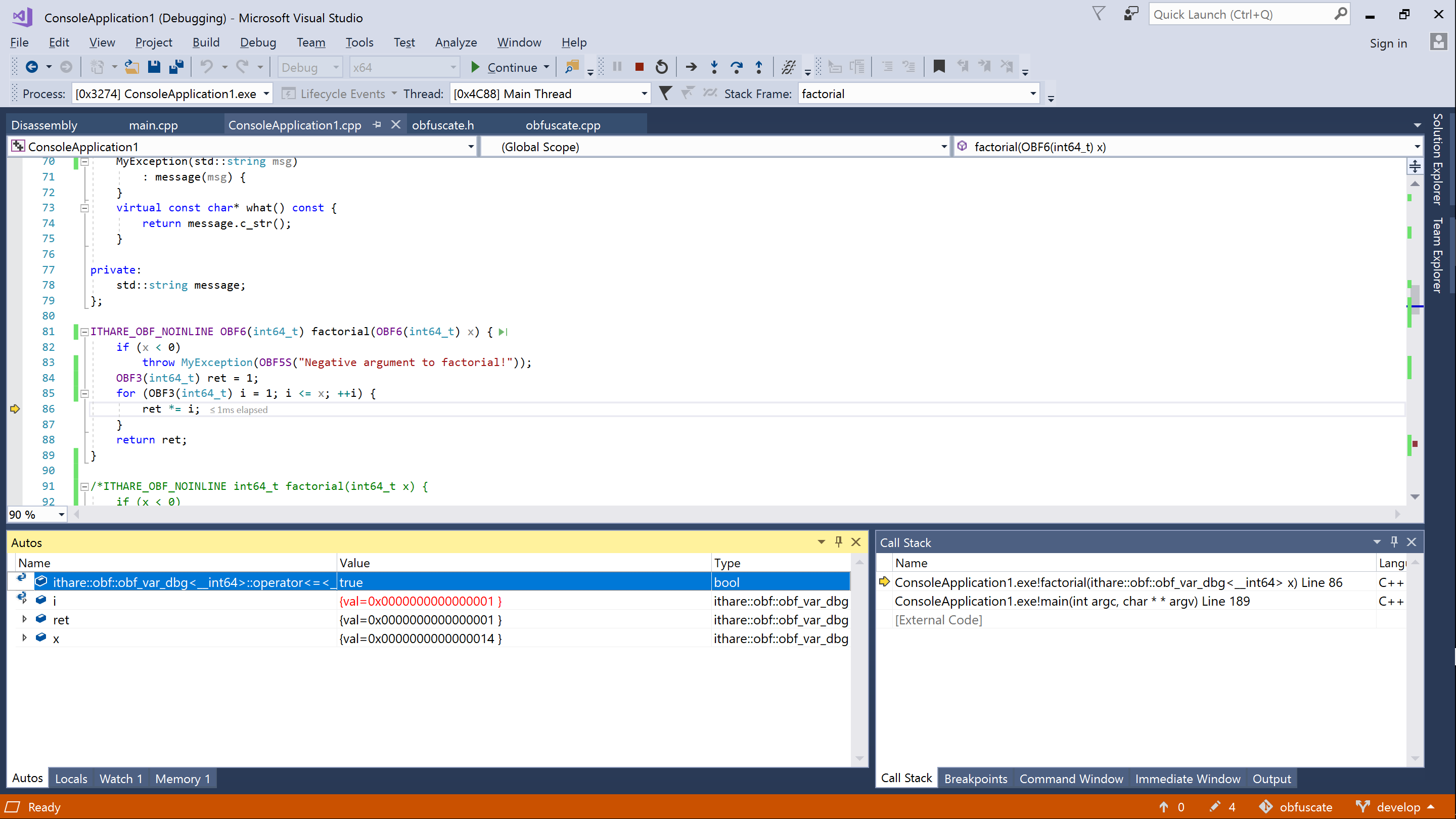 debugging obfuscated code in Visual Studio
